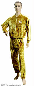 Hollywood Memorabilia:Costumes, Mike Meyers - Original Screen-Worn Goldmember Costume Acustom-created two-piece velour sweatsuit worn prominently by leada...