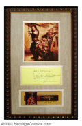 "Hollywood Memorabilia:Costumes, John Milius - Handwritten Script Quote Display from ""Conan the Barbarian"". A unique handwritten script excerpt signed by ""Co..."