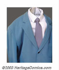 "Hollywood Memorabilia:Costumes, Arnold Schwarzenegger - Screen-Worn Movie Costume from ""Red Heat"". This teal blue suit, with accompanying shirt and tie, are..."