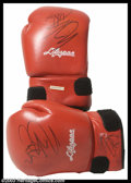 "Hollywood Memorabilia:Costumes, Sylvester Stallone - Autographed Boxing Gloves from ""Rocky"". Thisincredibly rare pair of Life Spar red boxing gloves were d..."