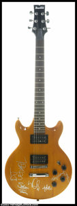 Music Memorabilia:Instruments, Limp Bizkit - Owned and Signed Guitar. Offered here is anincredible custom-made Ibanez electric guitar with a caramel wood...
