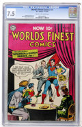Golden Age (1938-1955):Superhero, World's Finest Comics #73 (DC, 1954) CGC VF- 7.5 Cream to off-white pages....
