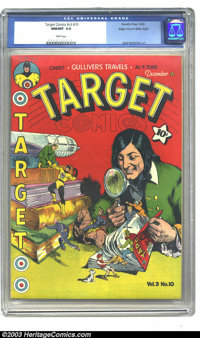 Target Comics V3#10 Mile High pedigree (Novelty Press, 1942) CGC NM/MT 9.8 White pages. Sporting a clever cover with all...