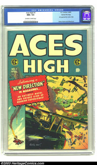 Aces High #1 Gaines File pedigree 1/12 (EC, 1955) CGC NM+ 9.6 Off-white to white pages. This first issue really is in im...