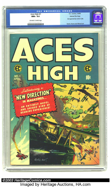 Aces High #1 Gaines File pedigree 1/12 (EC, 1955) CGC NM+ 9.6 Off-white to white pages. This first issue really is in immacu...