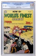 Golden Age (1938-1955):Superhero, World's Finest Comics #72 (DC, 1954) CGC VF- 7.5 Cream to off-white pages....