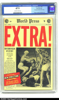 Extra! #1 Gaines File pedigree 1/12 (EC, 1955) CGC NM 9.4 Off-white pages. EC's first issue of Extra! did not manage to...