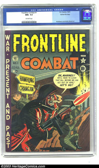 Frontline Combat #1 Gaines File pedigree 3/9 (EC, 1951) CGC NM+ 9.6 Off-white pages. This first issue of Harvey Kurtzman...