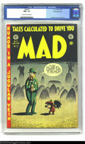 Golden Age (1938-1955):Humor, Mad #3 Gaines File pedigree (EC, 1953) CGC NM 9.4 Off-white to white pages. Harvey Kurtzman draws a humorous cover of a vamp...