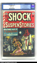 Golden Age (1938-1955):Horror, Shock SuspenStories #6 (EC, 1952) CGC NM/MT 9.8 Off-white to whitepages. A classic hooded vigilante bondage cover by Wally ...