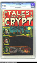 "Golden Age (1938-1955):Horror, Tales From the Crypt #28 (EC, 1952) CGC VF/NM 9.0 Cream tooff-white pages. Al Feldstein's frightening ""buried alive"" cover..."