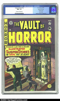 Vault of Horror #13 Gaines File pedigree 4/9 (EC, 1950) CGC NM+ 9.6 Off-white to white pages. Johnny Craig wasted no tim...