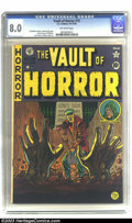 Golden Age (1938-1955):Horror, Vault of Horror #15 (EC, 1950) CGC VF 8.0 Off-white pages. Here'sthe fourth issue of this horror standard with cover art by...