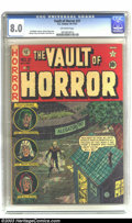 Golden Age (1938-1955):Horror, Vault of Horror #21 (EC, 1951) CGC VF 8.0 Off-white pages. JohnnyCraig's humor came through on many of his covers even as h...