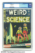 Golden Age (1938-1955):Science Fiction, Weird Science #7 (EC, 1951) CGC NM- 9.2 Off-white to white pages.Al Feldstein's terrific cover expertly embodies the 1950s ...