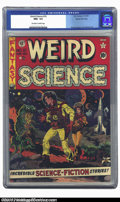 Golden Age (1938-1955):Science Fiction, Weird Science #10 Gaines File pedigree 4/11 (EC, 1951) CGC NM+ 9.6Off-white to white pages. An eye-popping Wally Wood cover...