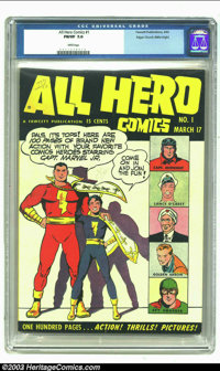 All Hero Comics #1 Mile High pedigree (Fawcett, 1943) CGC FN/VF 7.0 White pages. Here is a very early 100 page giant siz...