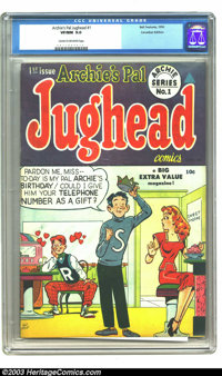 Archie's Pal Jughead #1 (Bell Features, 1949) CGC VF/NM 9.0 Cream to off-white pages. It took eight years from Juggie's...