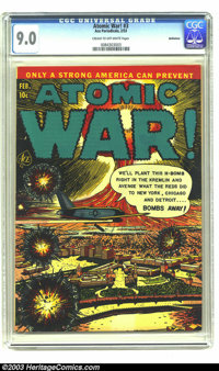 Atomic War! #3 Bethlehem pedigree (Ace, 1953) CGC VF/NM 9.0 Cream to off-white pages. Ever wonder what would happen in a...