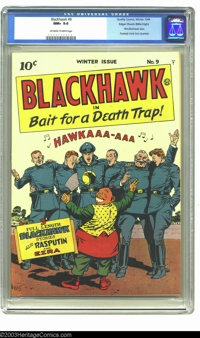 Blackhawk #9 Mile High pedigree (Quality, 1944) CGC NM+ 9.6 Off-white to white pages. This first issue of Blackhawk appe...