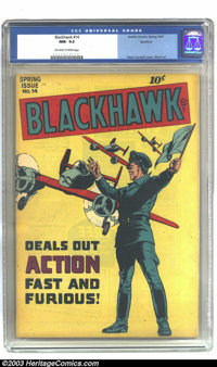 Blackhawk #14 Rockford pedigree (Quality, 1947) CGC NM- 9.2 Off-white to white pages. Here is another excellent copy fro...