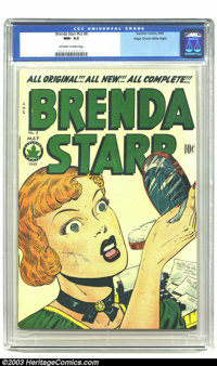 Brenda Starr Vol. 2, #8 Mile High pedigree (Four Star, 1949) CGC NM- 9.2 Off-white to white pages. The early issues of t...