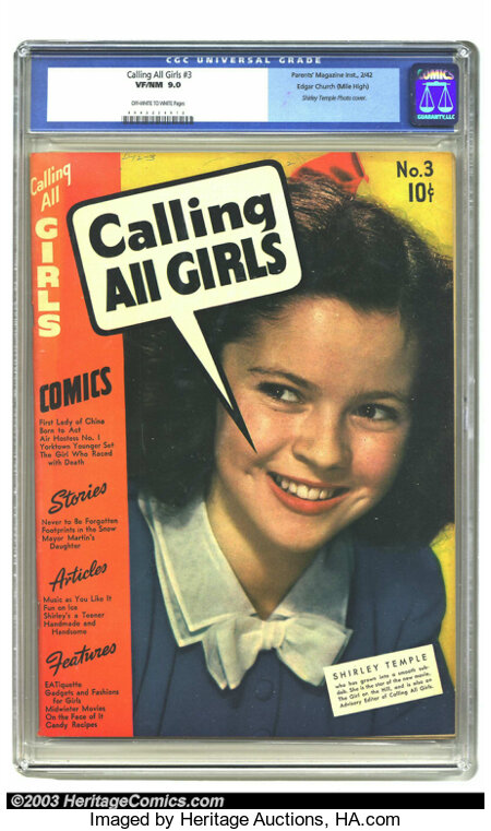 Calling All Girls #3 Mile High pedigree (Parents' Magazine Institute, 1942) CGC VF/NM 9.0 Off-white to white pages. Shirley ...