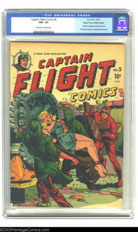 Captain Flight #5 Mile High pedigree (Four Star, 1944) CGC FN+ 6.5 Off-white to white pages. An esoteric comic that rose...