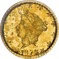 California Fractional Gold, 1875 25C Liberty Round 25 Cents, BG-846, R.6, MS63 PCGS....