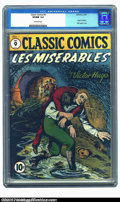 Golden Age (1938-1955):Classics Illustrated, Classic Comics #9, Les Miserables (Gilberton, 1943) CGC VF/NM 9.0Off-white pages. Before there the musical was a gleam in t...