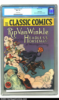 Classic Comics #12 Rip Van Winkle and the Headless Horseman - First Edition (Gilberton, 1943) CGC NM- 9.2 Off-white page...