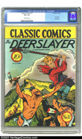 Golden Age (1938-1955):Classics Illustrated, Classic Comics #17 The Deerslayer - First edition (Gilberton, 1944)CGC VF+ 8.5 Off-white pages. This first edition of Cla...