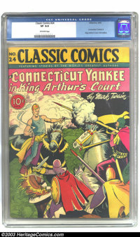 Classic Comics #24 A Connecticut Yankee in King Arthur's Court (Gilberton, 1945). CGC VF 8.0 Off-white pages. First edit...