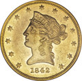 Liberty Eagles, 1842 $10 Small Date AU55 PCGS....