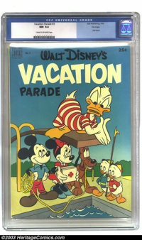 Walt Disney's Vacation Parade #3 File copy (Dell, 1952) CGC NM 9.4 Cream to off-white pages. Dell Giant; Walt Disney's V...