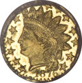 California Fractional Gold, 1876 25C Indian Head Round 25 Cents, BG-882, R.7, MS65 ProoflikeNGC....