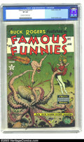 Golden Age (1938-1955):Science Fiction, Famous Funnies #215 (Eastern Color, 1955) CGC VF 8.0 Off-white towhite pages. A Buck Rogers cover by Frank Frazetta, underw...