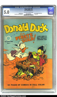 Four Color #9 Donald Duck (Dell, 1942) CGC VG/FN 5.0 Off-white to white pages. Carl Barks does Donald Duck for the first...