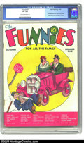 Platinum Age (1897-1937):Miscellaneous, Funnies #1 (Dell, 1936) CGC VG 4.0 Cream to off-white pages. Offered here is a solid copy of this early book. The mid 1930s ...