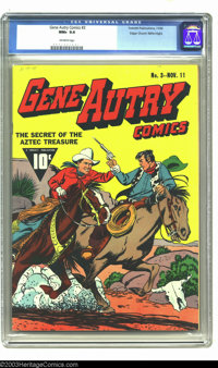 Gene Autry Comics #3 Mile High pedigree (Fawcett, 1942) CGC NM+ 9.6 Off-white pages. The action is fast and furious on t...