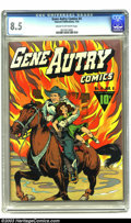 Golden Age (1938-1955):Western, Gene Autry Comics #4 (Fawcett, 1943) CGC VF+ 8.5 Cream to off-whitepages. In typical heroic fashion, Gene and Champion resc...