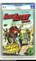 Golden Age (1938-1955):Western, Gene Autry Comics #8 (Fawcett, 1943) CGC VF+ 8.5 Off-white to whitepages. A very nice book, highlighted by a Jim Chambers c...
