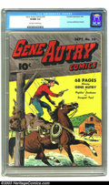 Golden Age (1938-1955):Western, Gene Autry Comics #10 (Fawcett, 1943) CGC VF/NM 9.0 Off-white towhite pages. Gene leaps onto the back of his trusty mount, ...