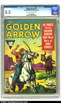 Golden Age (1938-1955):Western, Golden Arrow #1 (Fawcett, 1942) CGC VF 8.0 Cream to off-whitepages. The Wild West Hero of Whiz Comics rides into his ow...
