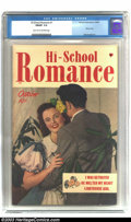 Golden Age (1938-1955):Romance, Hi-School Romance #1 (Harvey, 1949) CGC FN/VF 7.0. Tales of loveand betrayal the Harvey way. Prior to the Comic Code Auth...