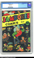 Golden Age (1938-1955):Funny Animal, Jamboree Comics #1 (Round, 1946) CGC NM 9.4 Cream to off-whitepages. A simply beautiful cover depicting a cartoon cowboy su...