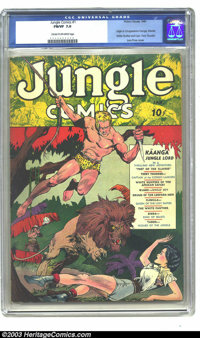 Jungle Comics #1 (Fiction House, 1940) CGC FN/VF 7.0 Cream to off-white pages. This incredible Lou Fine cover is so stri...