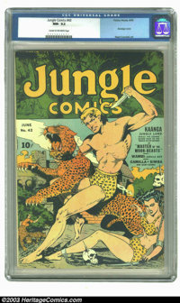 Jungle Comics #42 (Fiction House, 1943) CGC NM- 9.2 Cream to off-white pages. Bondage cover. Reed Crandall art. Overstre...