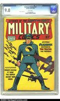 Golden Age (1938-1955):War, Military Comics #21 (Quality, 1943) CGC VF/NM 9.0 White pages. Ifever a Blackhawk cover cried out for replication as a post...