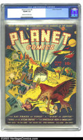 "Golden Age (1938-1955):Science Fiction, Planet Comics #6 (Fiction House, 1940) CGC VG/FN 5.0 Cream to off-white pages. Another ""scarce"" issue, CGC has certified jus..."